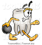 Illustration of a Cartoon Tooth Mascot Holding a Bowling Ball by Toons4Biz