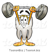 Illustration of a Cartoon Tooth Mascot Holding a Heavy Barbell Above His Head by Toons4Biz