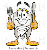 Illustration of a Cartoon Tooth Mascot Holding a Knife and Fork by Toons4Biz