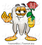 Illustration of a Cartoon Tooth Mascot Holding a Red Rose on Valentines Day by Toons4Biz