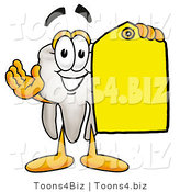Illustration of a Cartoon Tooth Mascot Holding a Yellow Sales Price Tag by Toons4Biz
