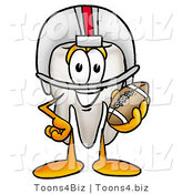 Illustration of a Cartoon Tooth Mascot in a Helmet, Holding a Football by Toons4Biz