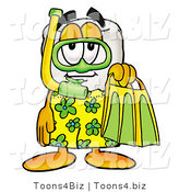 Illustration of a Cartoon Tooth Mascot in Green and Yellow Snorkel Gear by Toons4Biz