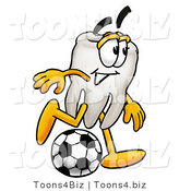 Illustration of a Cartoon Tooth Mascot Kicking a Soccer Ball by Toons4Biz