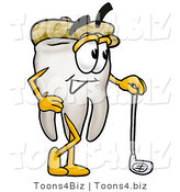 Illustration of a Cartoon Tooth Mascot Leaning on a Golf Club While Golfing by Toons4Biz