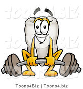 Illustration of a Cartoon Tooth Mascot Lifting a Heavy Barbell by Toons4Biz