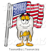 Illustration of a Cartoon Tooth Mascot Pledging Allegiance to an American Flag by Toons4Biz
