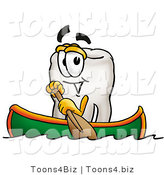 Illustration of a Cartoon Tooth Mascot Rowing a Boat by Toons4Biz