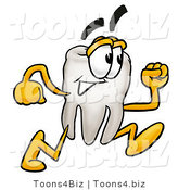 Illustration of a Cartoon Tooth Mascot Running by Toons4Biz