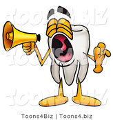 Illustration of a Cartoon Tooth Mascot Screaming into a Megaphone by Toons4Biz