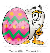 Illustration of a Cartoon Tooth Mascot Standing Beside an Easter Egg by Toons4Biz
