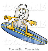 Illustration of a Cartoon Tooth Mascot Surfing on a Blue and Yellow Surfboard by Toons4Biz