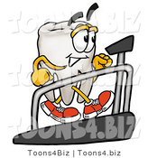 Illustration of a Cartoon Tooth Mascot Walking on a Treadmill in a Fitness Gym by Toons4Biz