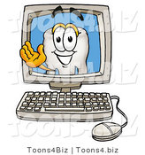 Illustration of a Cartoon Tooth Mascot Waving from Inside a Computer Screen by Toons4Biz