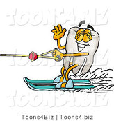 Illustration of a Cartoon Tooth Mascot Waving While Water Skiing by Toons4Biz