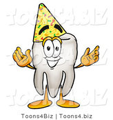 Illustration of a Cartoon Tooth Mascot Wearing a Birthday Party Hat by Toons4Biz