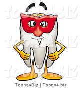 Illustration of a Cartoon Tooth Mascot Wearing a Red Mask over His Face by Toons4Biz