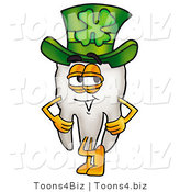 Illustration of a Cartoon Tooth Mascot Wearing a Saint Patricks Day Hat with a Clover on It by Toons4Biz
