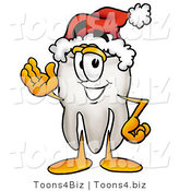 Illustration of a Cartoon Tooth Mascot Wearing a Santa Hat and Waving by Toons4Biz