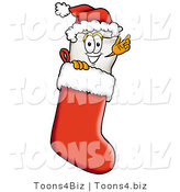 Illustration of a Cartoon Tooth Mascot Wearing a Santa Hat Inside a Red Christmas Stocking by Toons4Biz