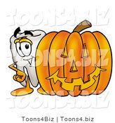 Illustration of a Cartoon Tooth Mascot with a Carved Halloween Pumpkin by Toons4Biz