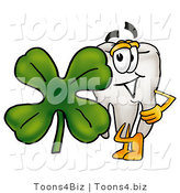 Illustration of a Cartoon Tooth Mascot with a Green Four Leaf Clover on St Paddy's or St Patricks Day by Toons4Biz