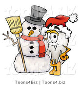 Illustration of a Cartoon Tooth Mascot with a Snowman on Christmas by Toons4Biz