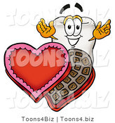 Illustration of a Cartoon Tooth Mascot with an Open Box of Valentines Day Chocolate Candies by Toons4Biz