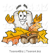 Illustration of a Cartoon Tooth Mascot with Autumn Leaves and Acorns in the Fall by Toons4Biz