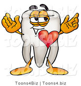 Illustration of a Cartoon Tooth Mascot with His Heart Beating out of His Chest by Toons4Biz