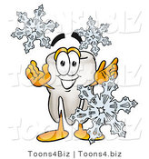 Illustration of a Cartoon Tooth Mascot with Three Snowflakes in Winter by Toons4Biz