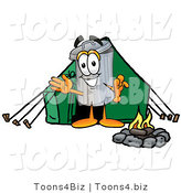 Illustration of a Cartoon Trash Can Mascot Camping with a Tent and Fire by Toons4Biz