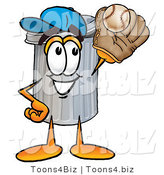 Illustration of a Cartoon Trash Can Mascot Catching a Baseball with a Glove by Toons4Biz
