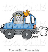 Illustration of a Cartoon Trash Can Mascot Driving a Blue Car and Waving by Toons4Biz
