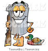 Illustration of a Cartoon Trash Can Mascot Duck Hunting, Standing with a Rifle and Duck by Toons4Biz