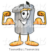 Illustration of a Cartoon Trash Can Mascot Flexing His Arm Muscles by Toons4Biz