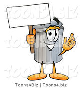 Illustration of a Cartoon Trash Can Mascot Holding a Blank Sign by Toons4Biz