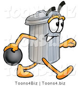 Illustration of a Cartoon Trash Can Mascot Holding a Bowling Ball by Toons4Biz