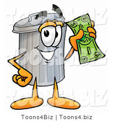 Illustration of a Cartoon Trash Can Mascot Holding a Dollar Bill by Toons4Biz