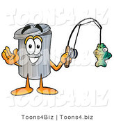 Illustration of a Cartoon Trash Can Mascot Holding a Fish on a Fishing Pole by Toons4Biz