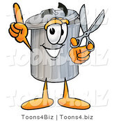 Illustration of a Cartoon Trash Can Mascot Holding a Pair of Scissors by Toons4Biz