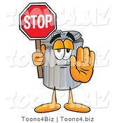 Illustration of a Cartoon Trash Can Mascot Holding a Stop Sign by Toons4Biz