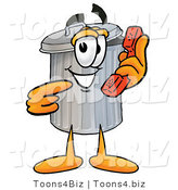 Illustration of a Cartoon Trash Can Mascot Holding a Telephone by Toons4Biz