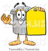 Illustration of a Cartoon Trash Can Mascot Holding a Yellow Sales Price Tag by Toons4Biz