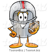 Illustration of a Cartoon Trash Can Mascot in a Helmet, Holding a Football by Toons4Biz