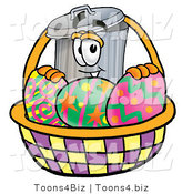Illustration of a Cartoon Trash Can Mascot in an Easter Basket Full of Decorated Easter Eggs by Toons4Biz