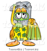 Illustration of a Cartoon Trash Can Mascot in Green and Yellow Snorkel Gear by Toons4Biz