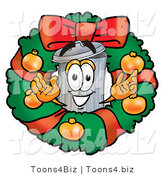 Illustration of a Cartoon Trash Can Mascot in the Center of a Christmas Wreath by Toons4Biz