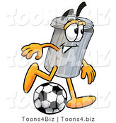 Illustration of a Cartoon Trash Can Mascot Kicking a Soccer Ball by Toons4Biz