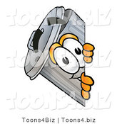 Illustration of a Cartoon Trash Can Mascot Peeking Around a Corner by Toons4Biz
